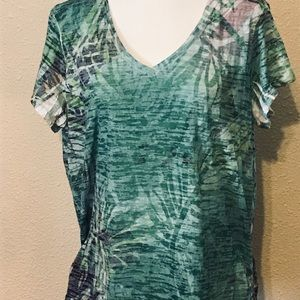 Multi-Colored Tee With Palm Leaves